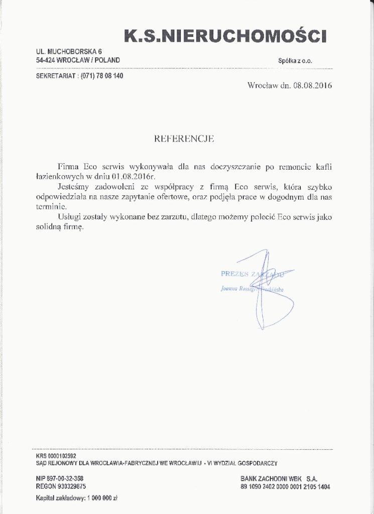 Referencje - K.S.Nieruchomości